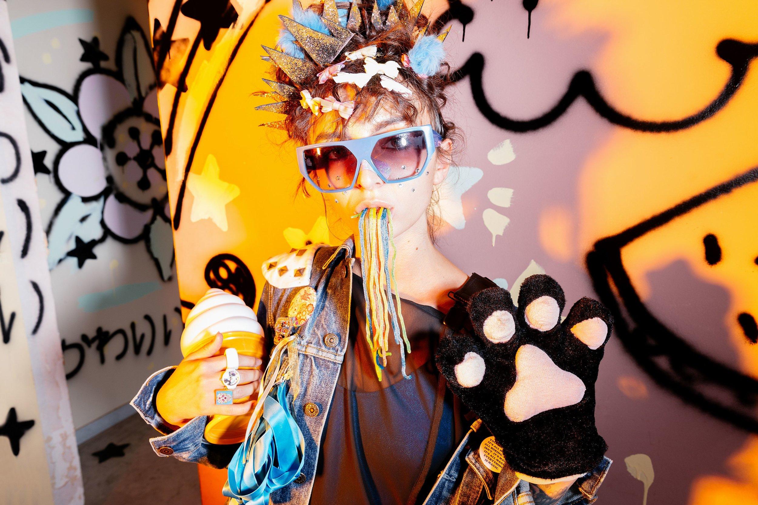 Sunglasses Jeremie Scott for Linda Farrow Gallery - Black dress under jacket by Jean Angie Kaser - Jean Jacket Levi's customized by Flavia Cannata - all accessories from Harajuku Market Japan Tokyo