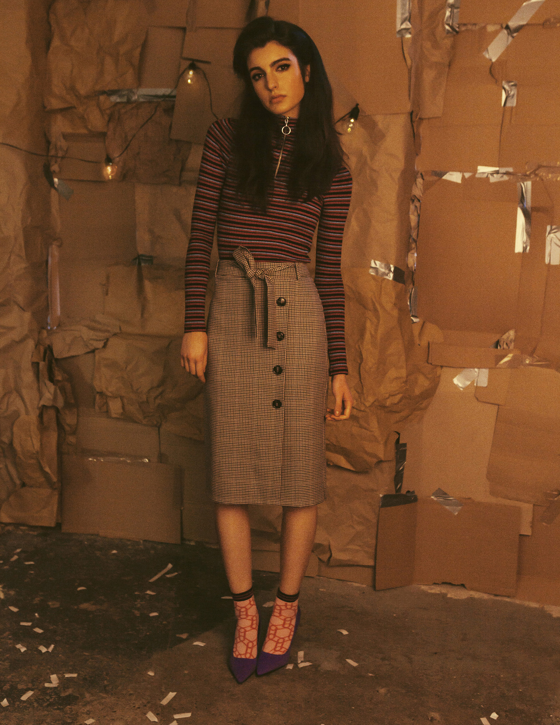 Stripe top Topshop check midi skirt Topshop  Heels and socks - Stylist's own