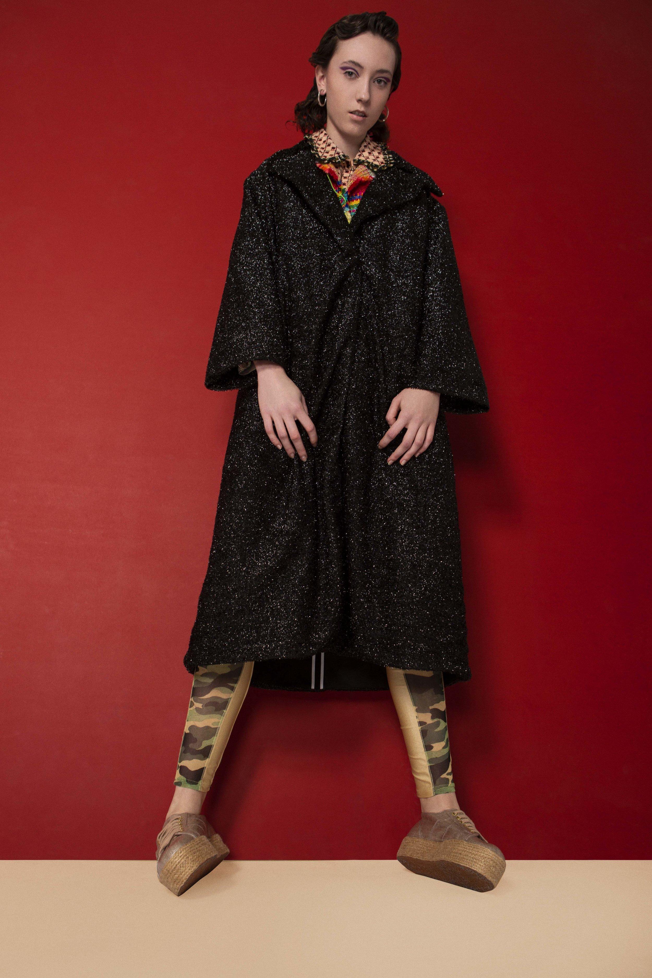 Shirt – ORLA KIELY Jacket – BOO PALA Coat – LONGSHAW WARD Pant – DANS LA VIE Earring – VAN PETERSON Footwear - SUPERGA