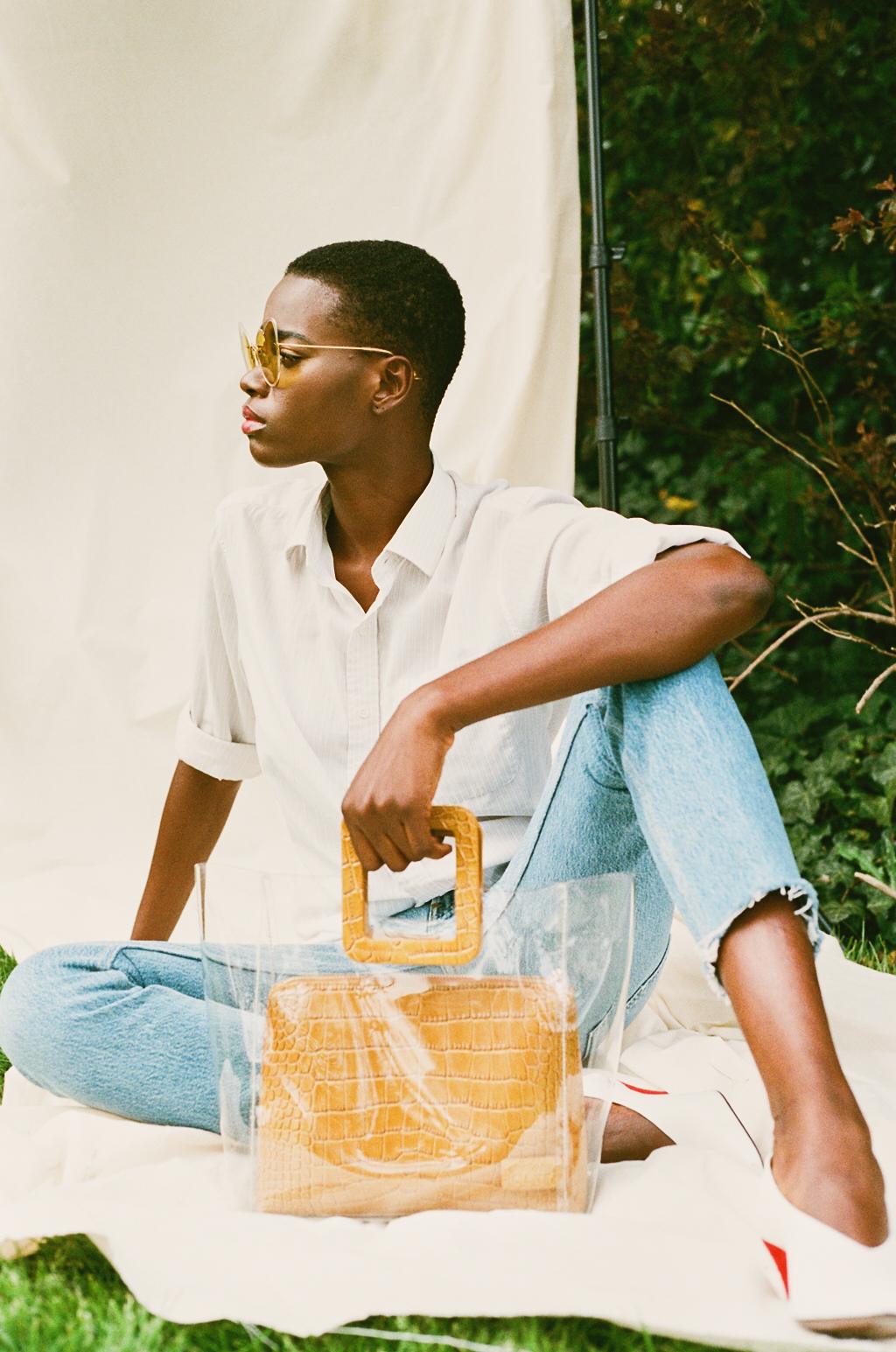 Sunglasses- Moy Atelier  Shirt -Vintage  Jeans - RE/DONE   Shoes -Neous  Bag -Staud