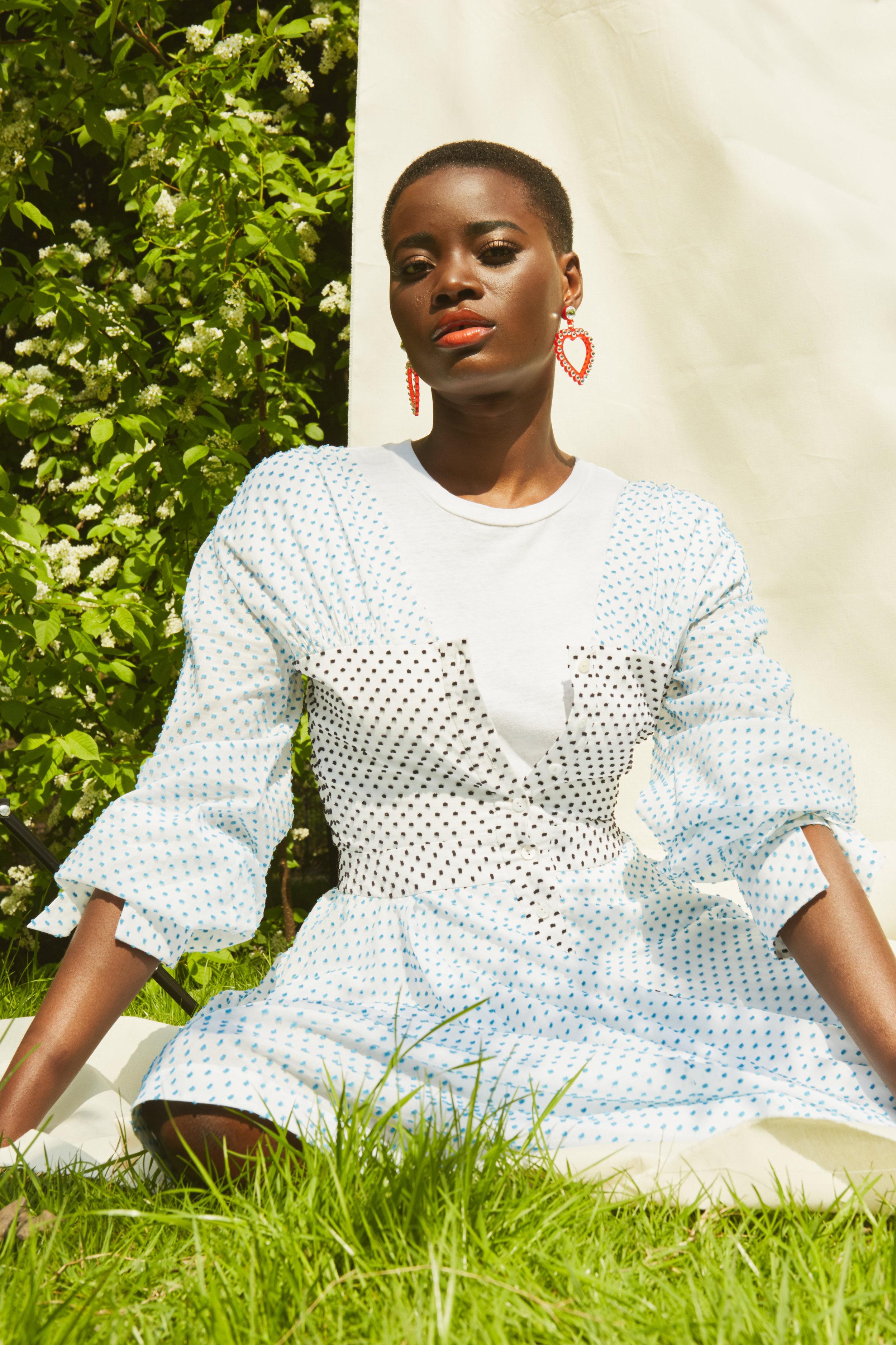 Earrings -Jennifer Loiselle   T-shirt -RE/DONE  Dress -Teija