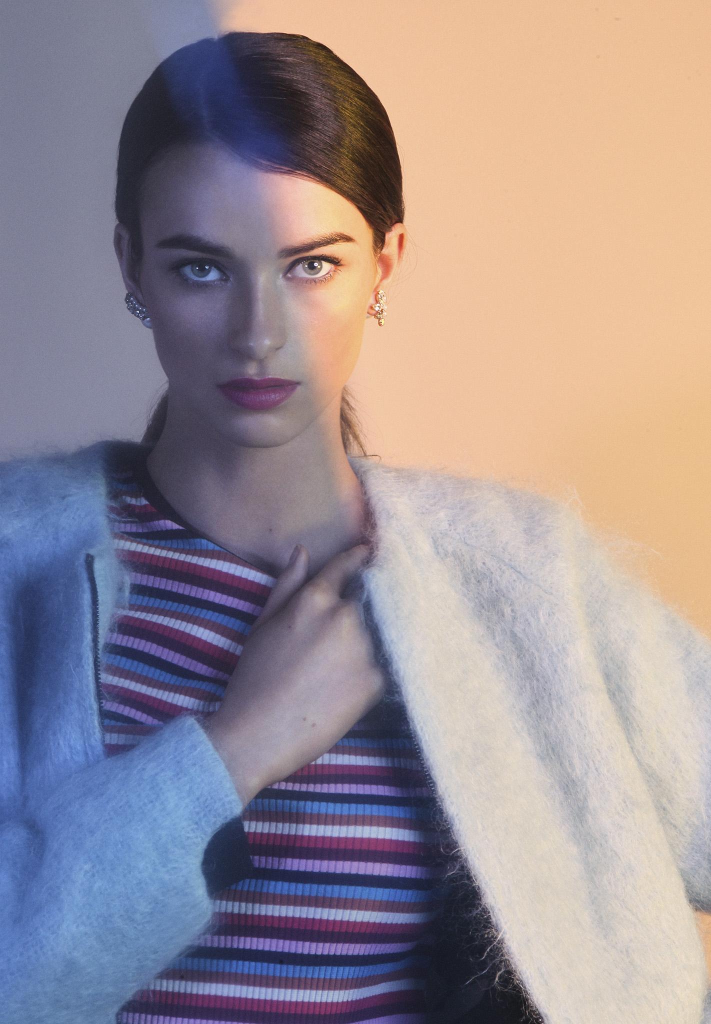 Multi colour short sleeve top  Scotch and Soda   Babay   blue merino wool bomber  Sabinna   Earring  Mayu Pearl x Crystal mix Swarovski  & white pearl rivet pierced earring