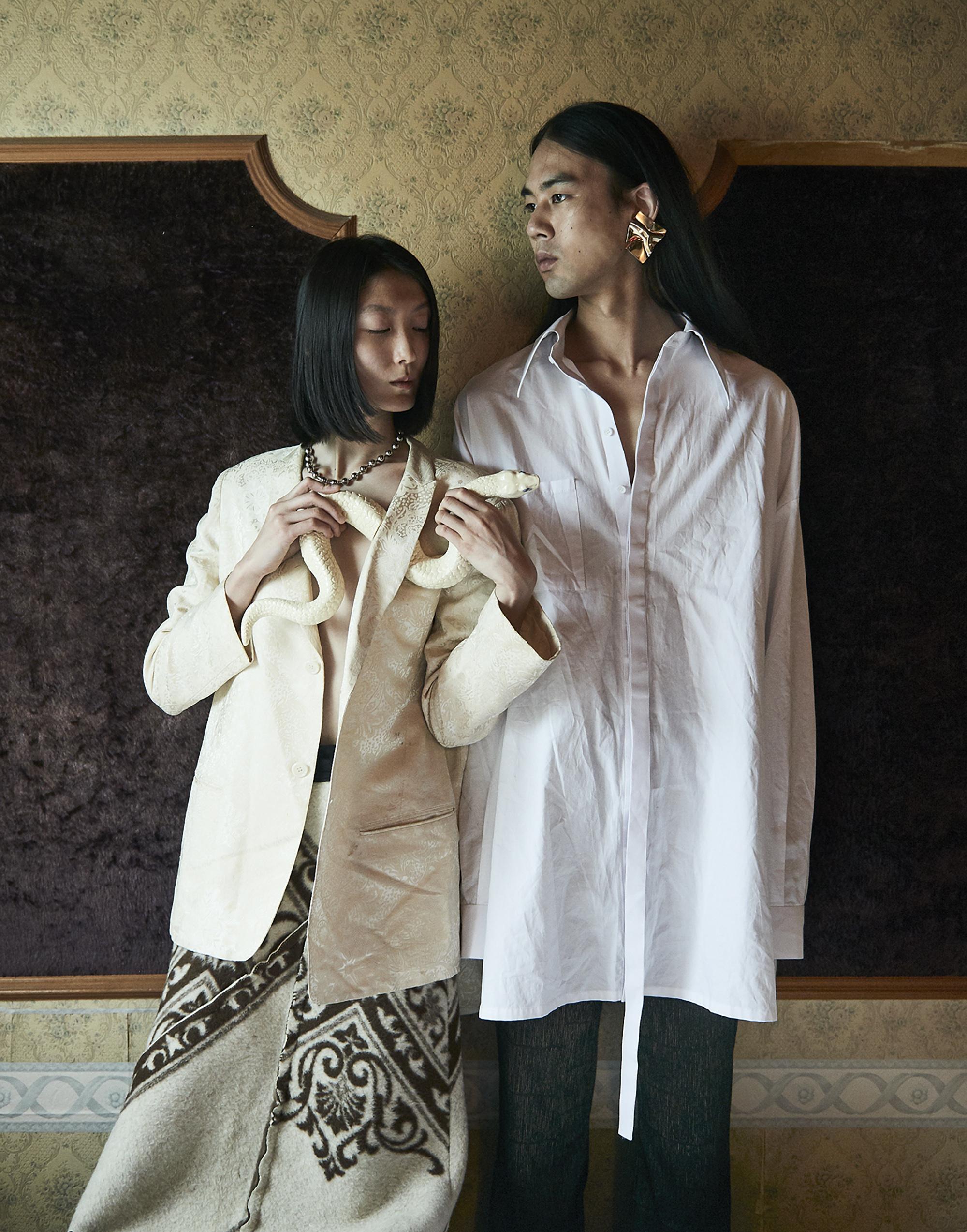 Woman Shirts  Comme des Garcons   Man Shirt  Helmut lang  Tights stylist own  Ceramic:  Kilala Iriyama  @kilala72