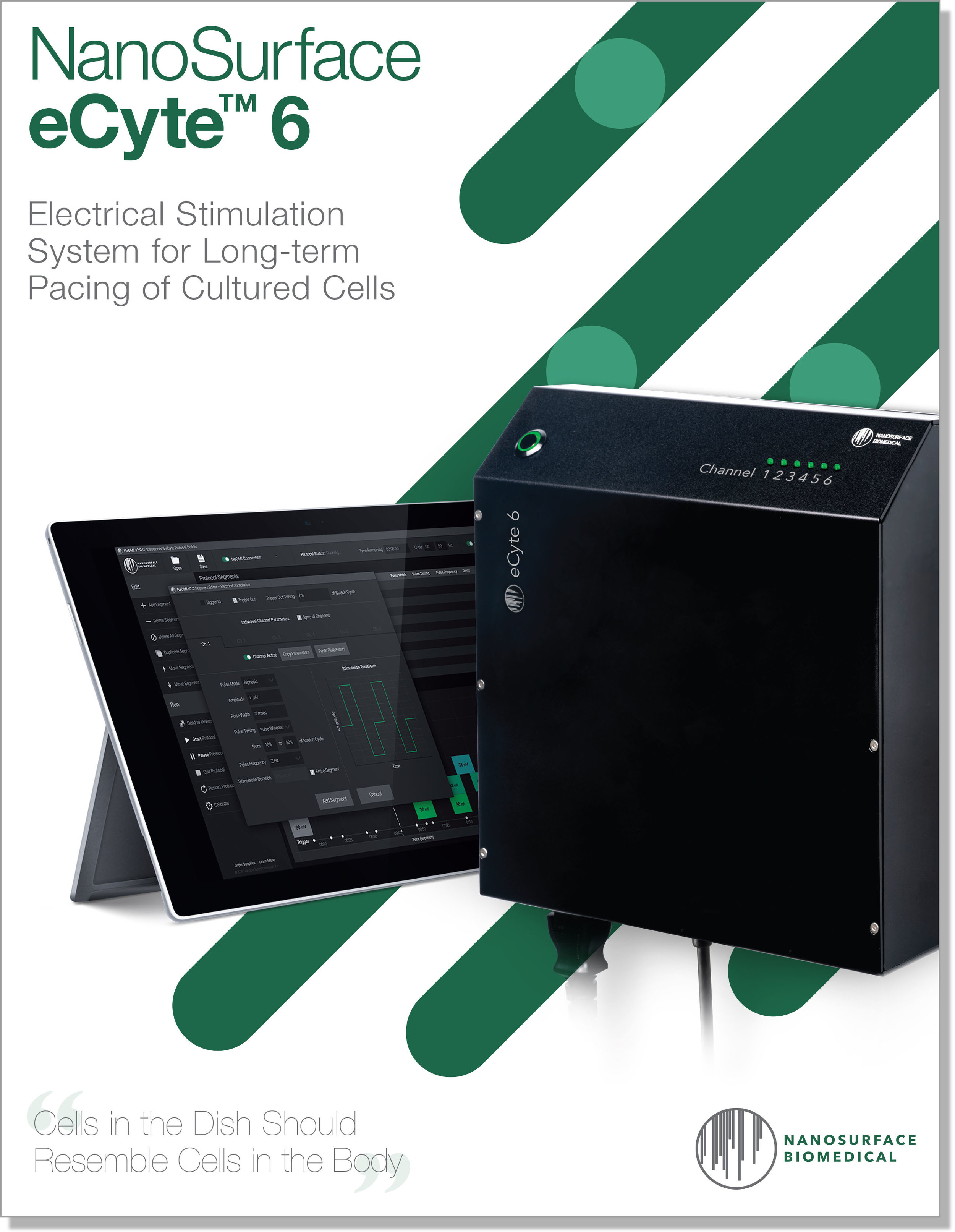 NanoSurface eCyte 6 Electrical Stimulation System Brochure - Download the NanoSurface eCyte 6 system brochure for information about the electrical stimulation system in a convenient PDF format. For additional information, please contact support@nanosurfacebio.com.