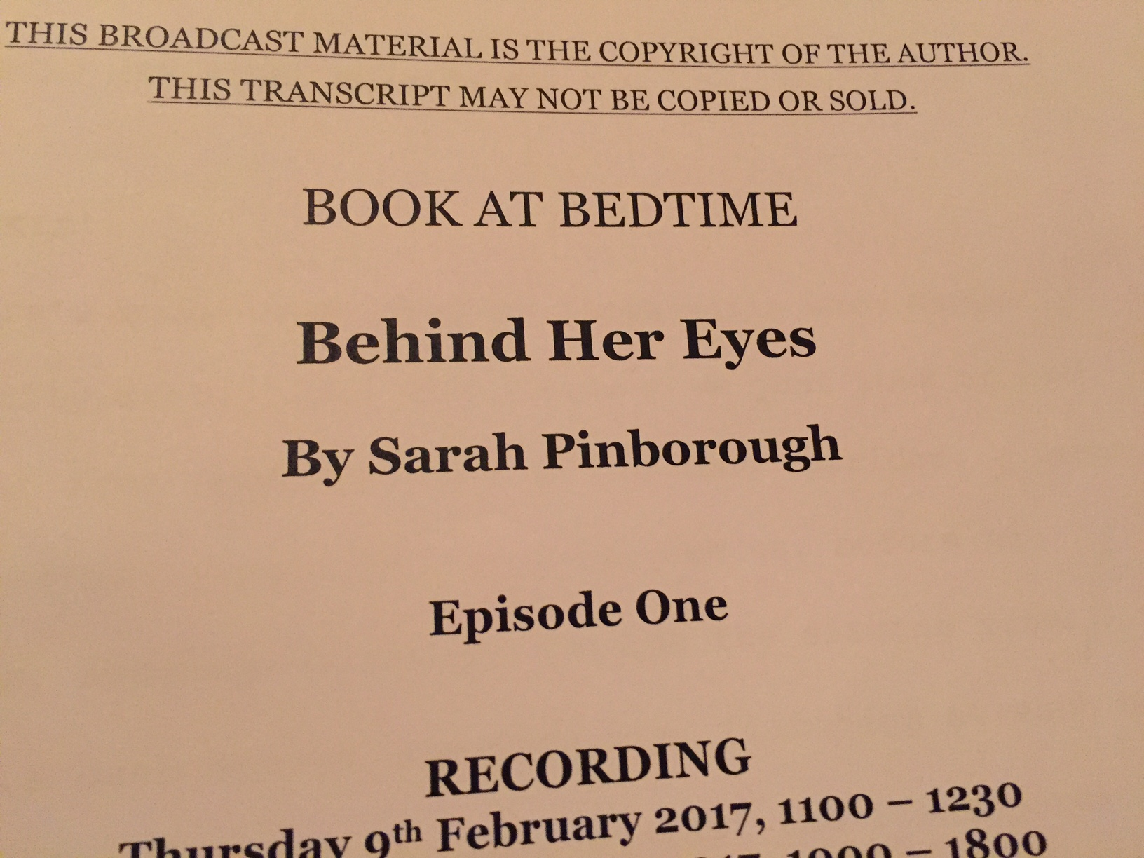 Feb 2017 - Book at Bedtime - Reading the incredibly complex role of Adele in Sarah Pinborough's number one bestseller Behind her Eyes. Directed by Karen Rose for Sweet Talk Productions.