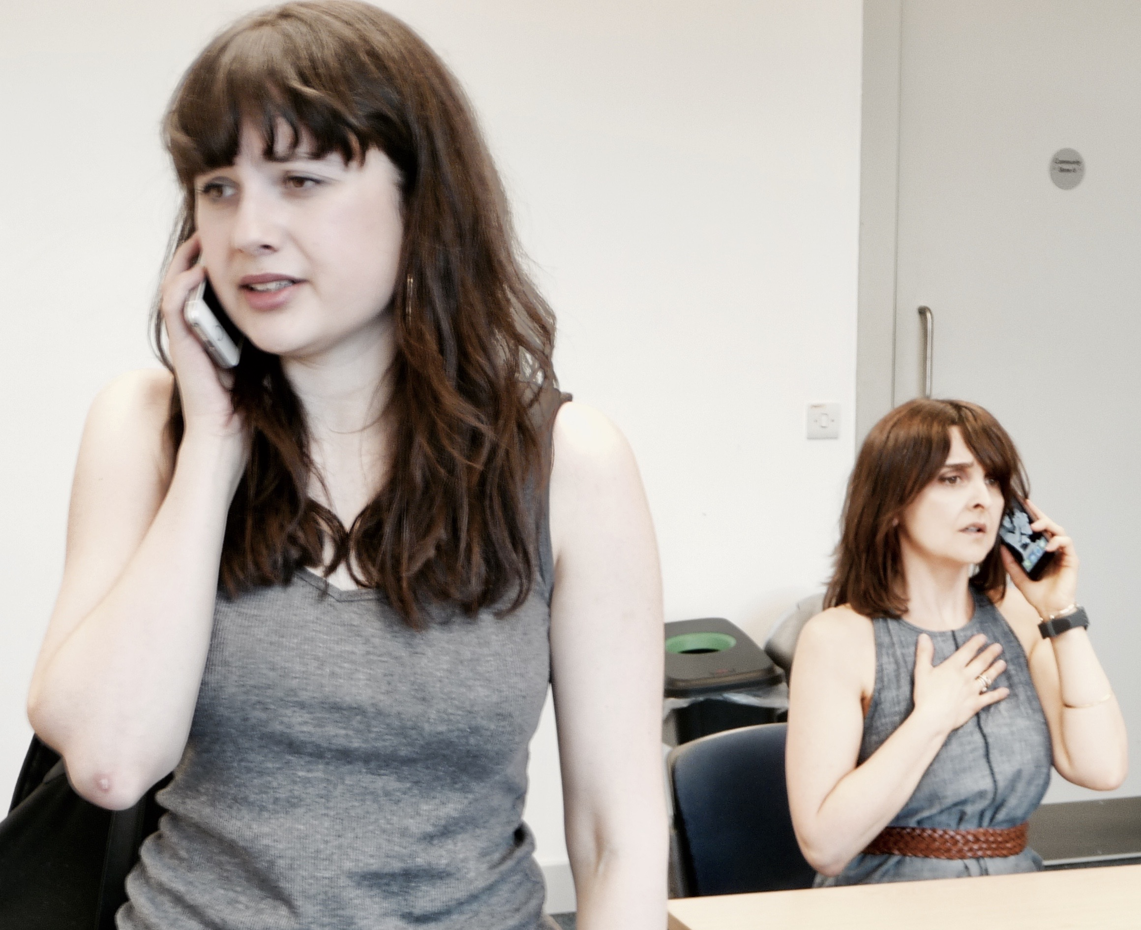 In rehearsals for VEGAN VISITING by Micah, directed by Jaclyn Bradley. Here with Rebecca Rayne. Performing at The Southwark Playhouse on the 18th June as part of Little Pieces of Gold.