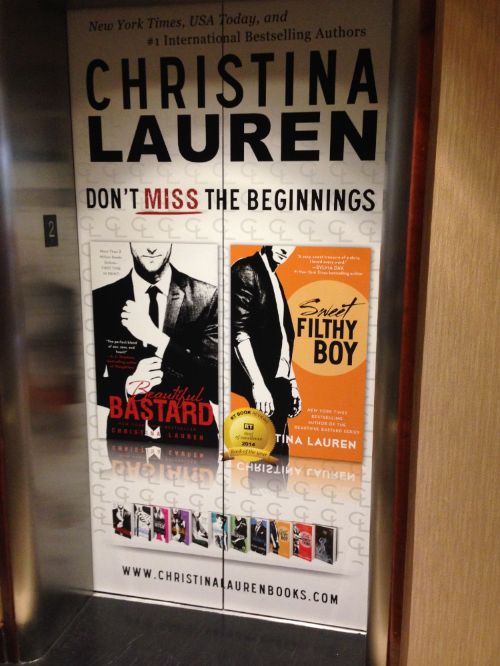 Even the elevators had good SQUEE!! Christina Lauren's Sweet Filthy Boy was the RT Book of the Year.