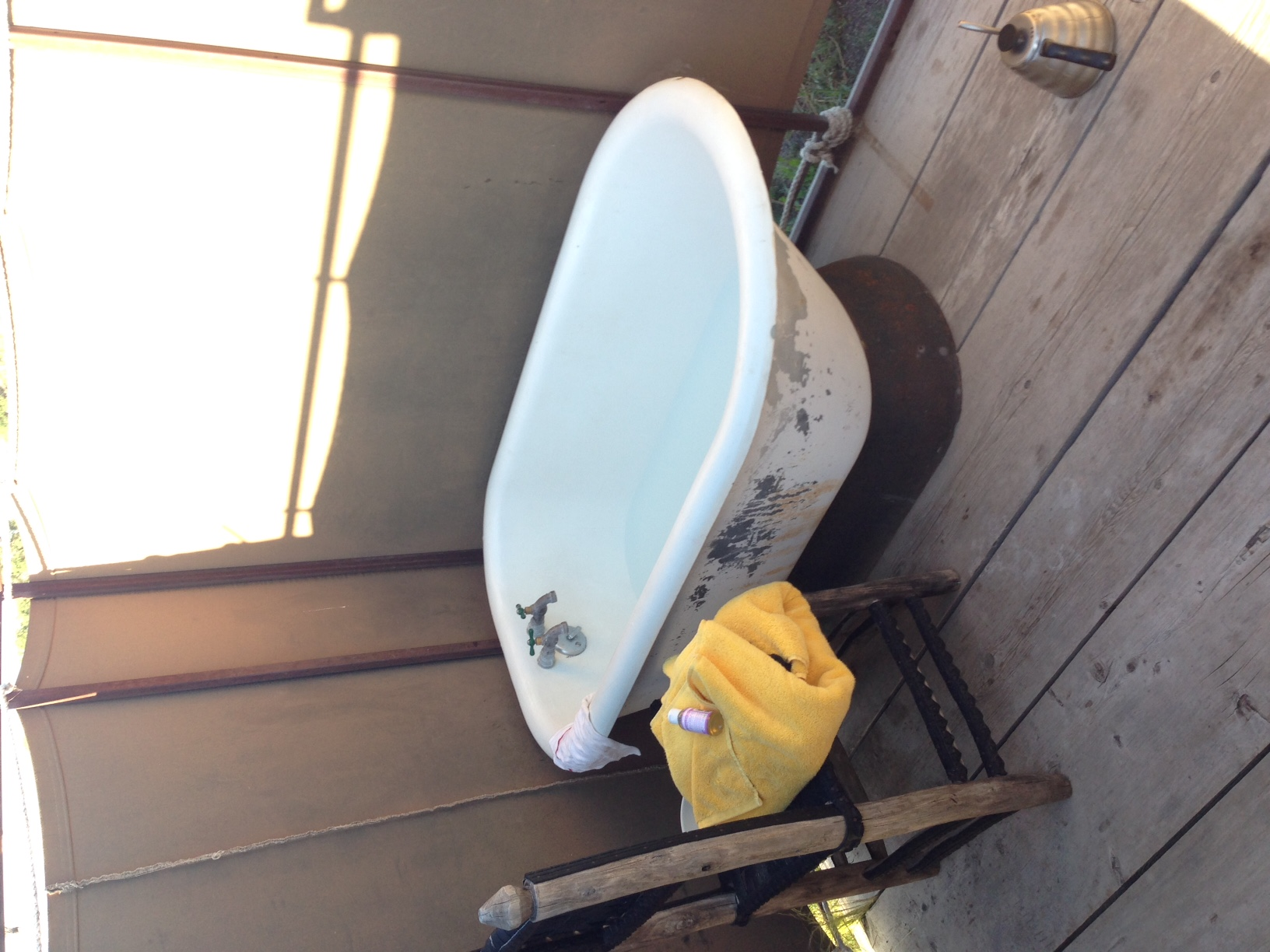 The outdoor tub for the Branstrator trailer at El Cosmico.