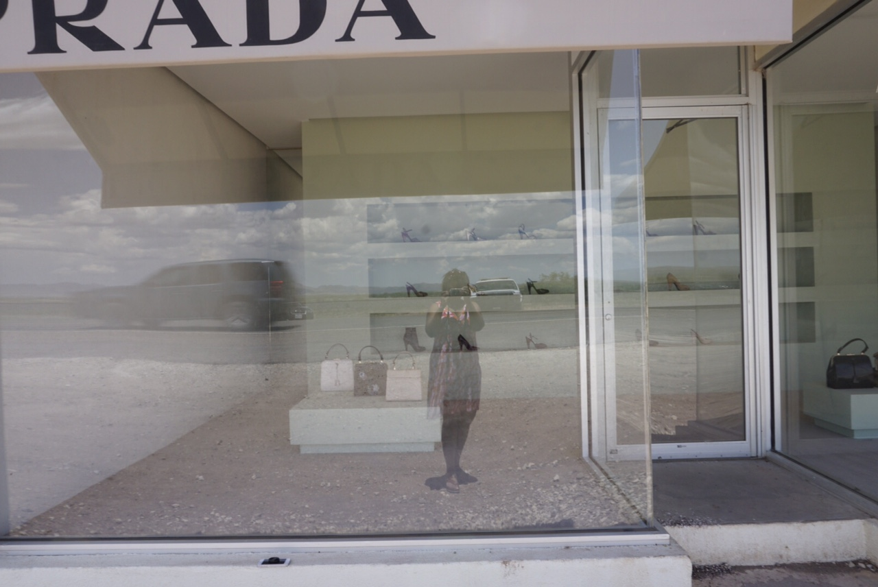 Me, a random car, and U.S. Border Patrol in front of Prada Marfa