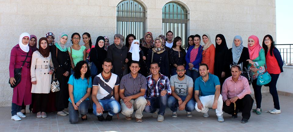 A group of students who have received scholarships to study in different fields in private universities in Palestine