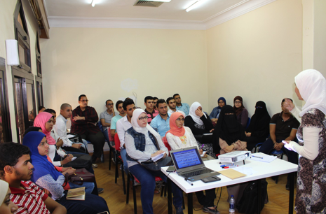 Shereen is delivering entrepreneurship training for a group of entrepreneurs at Eco-space