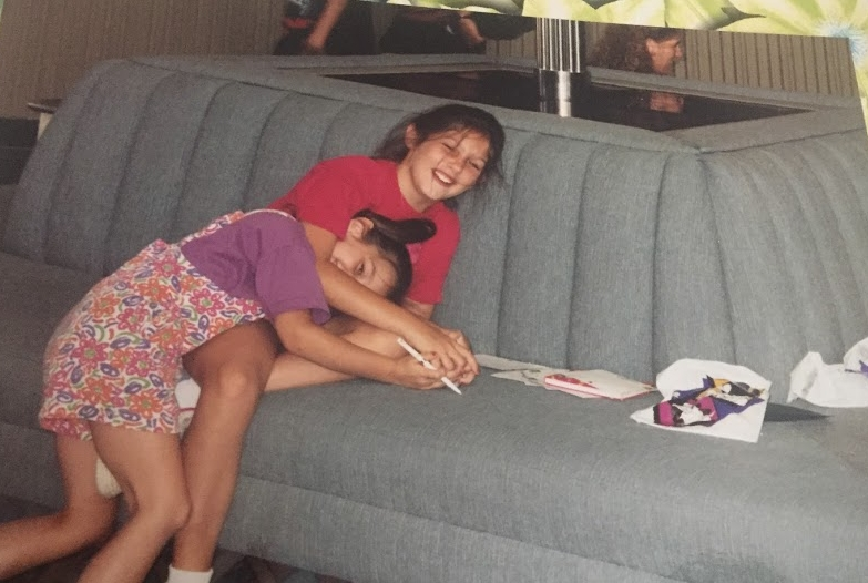 Casual Contemporary couch wrestling match circa 1995