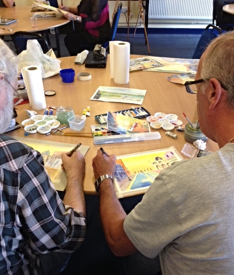 Working with Mary painting Venice using pen and wash.