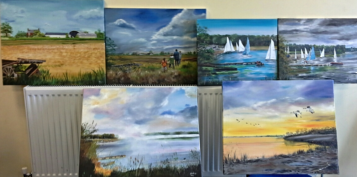 Janet's paintings for the sailing club