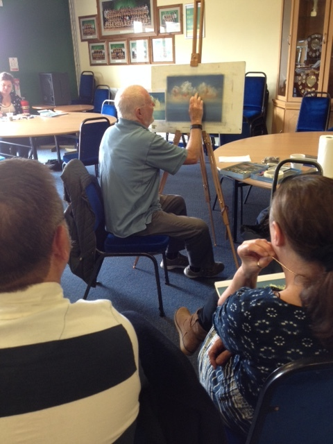 Ian's demonstration of trees in the mist in pastel this week