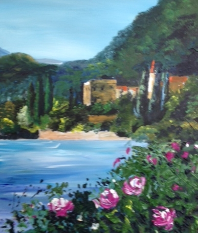 Janet's demo this week of a lake scene in acrylics