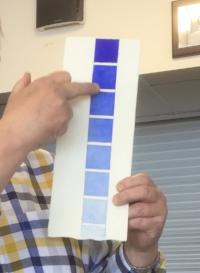 Here John was explaining tonal value by using more or less water to the paint.