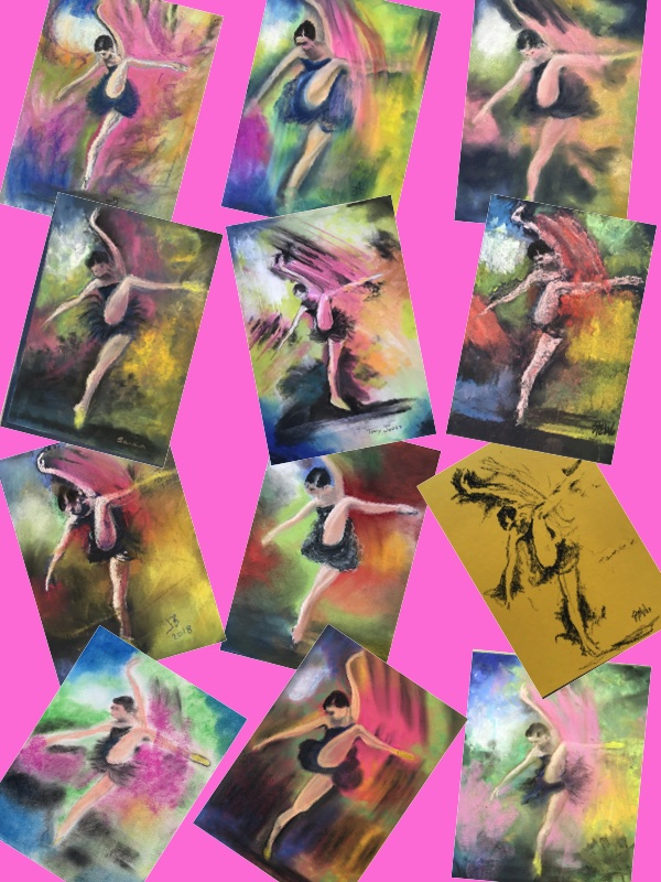 A collage of all the dancer paintings completed today. - Individual paintings are in a work folder called 'Dancer' and be seen by clicking this link.