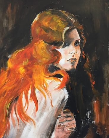 """The Lady with Red Hair. - Start of a new year with our very own Janet Bilsbury guiding us through painting a """"Lady with red hair"""" using Acrylic."""