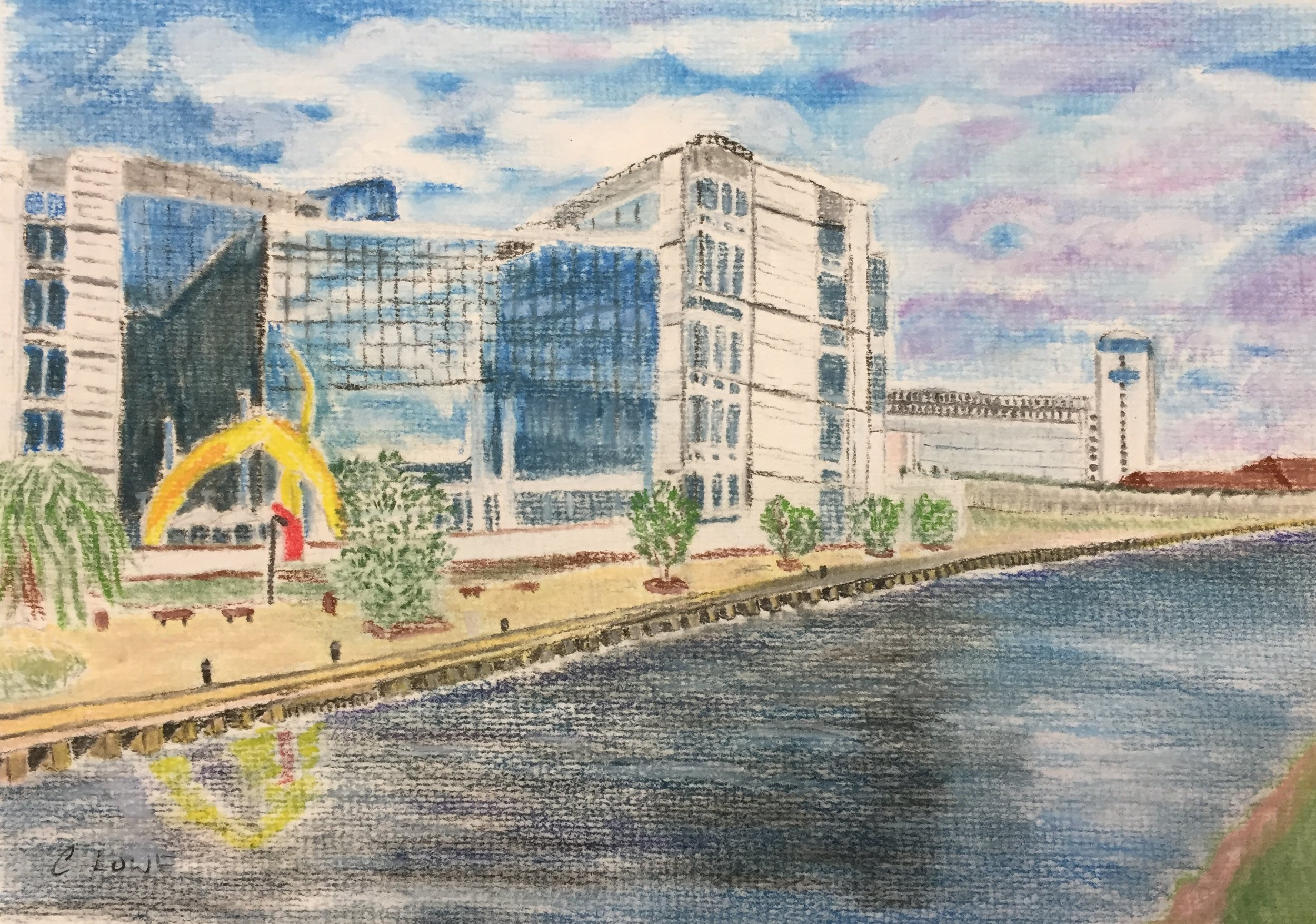 Canal side offices - Pastel.