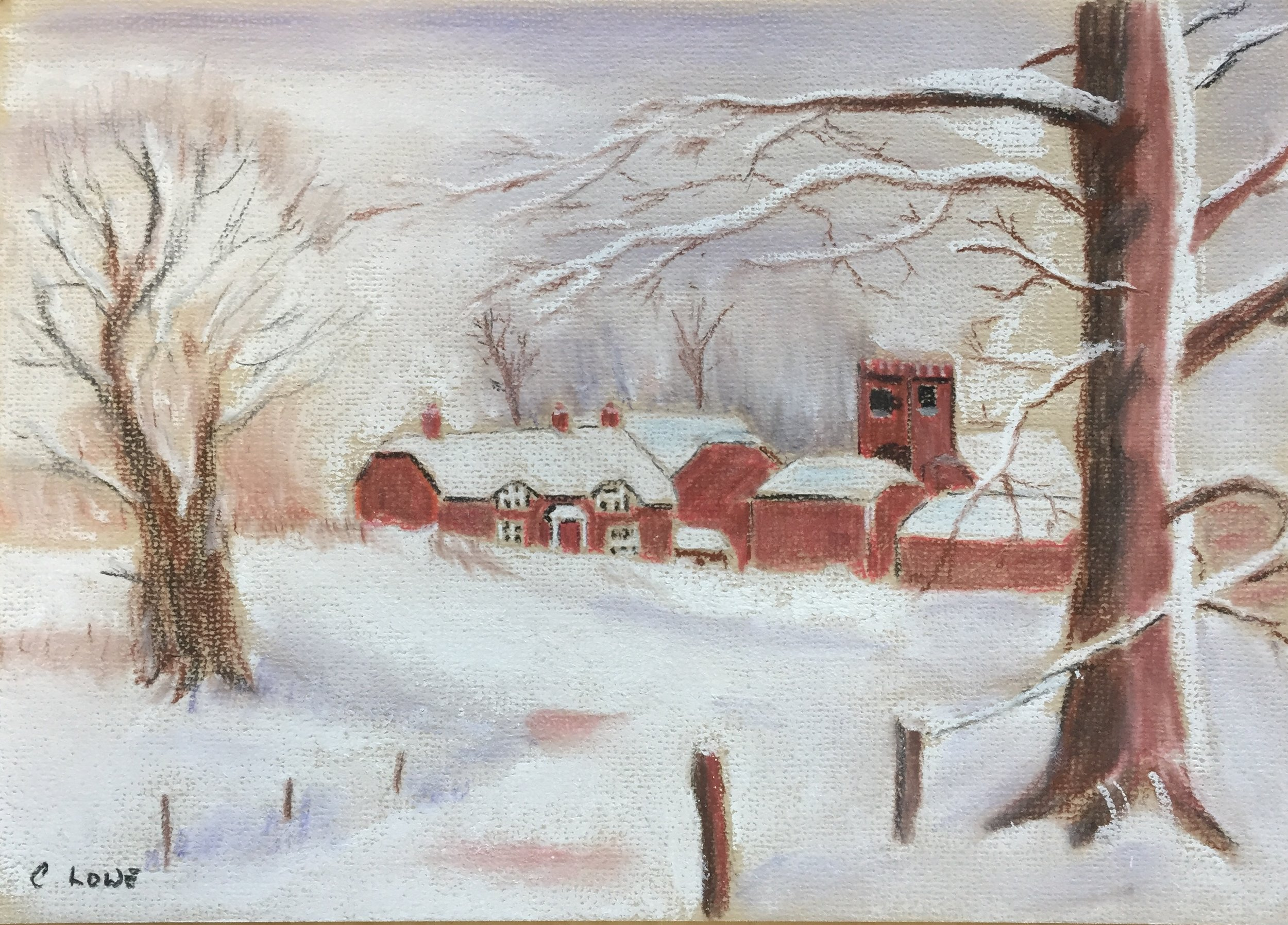 Snow in the village - Pastel.