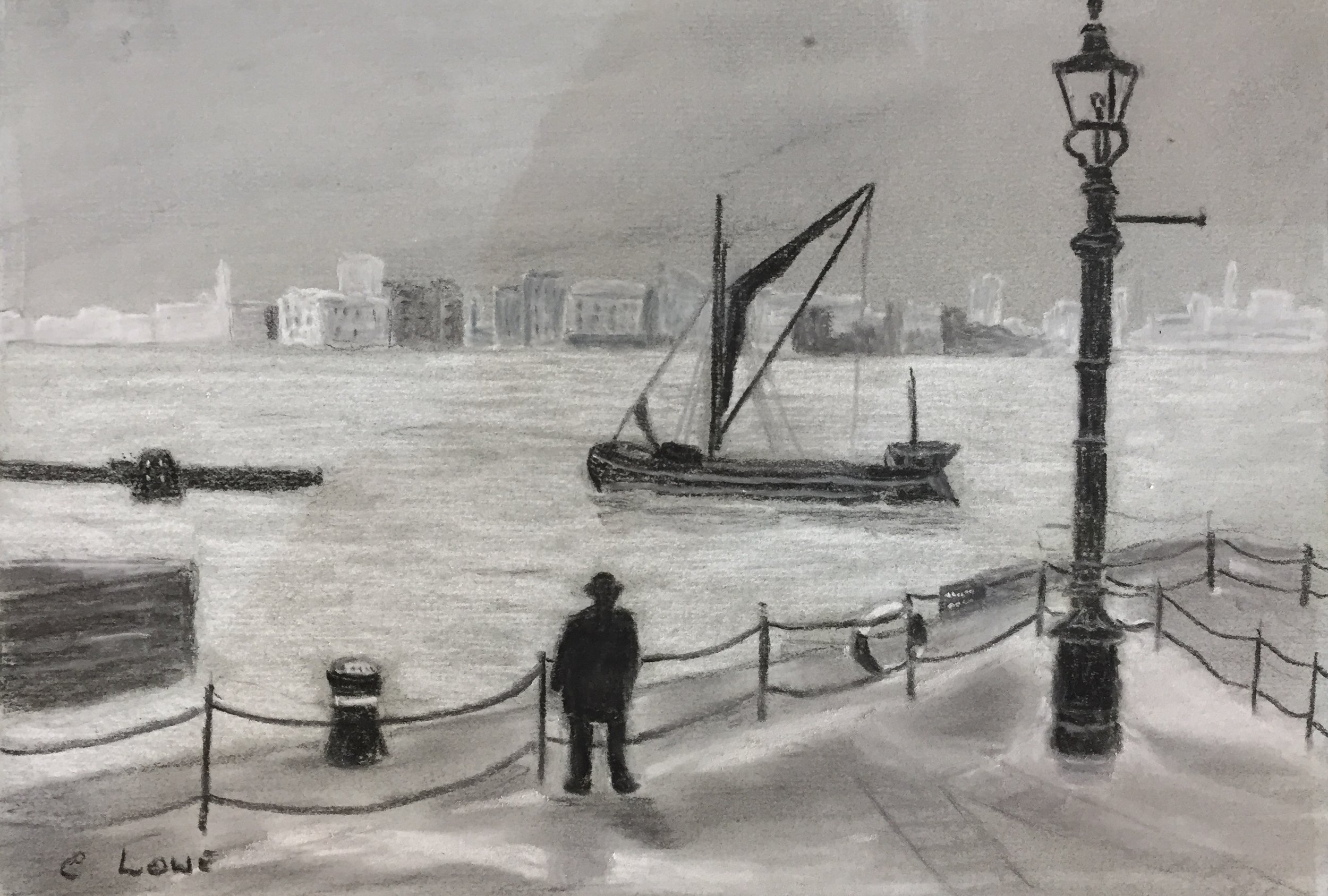 Sailing ship - London - One colour Pastel.