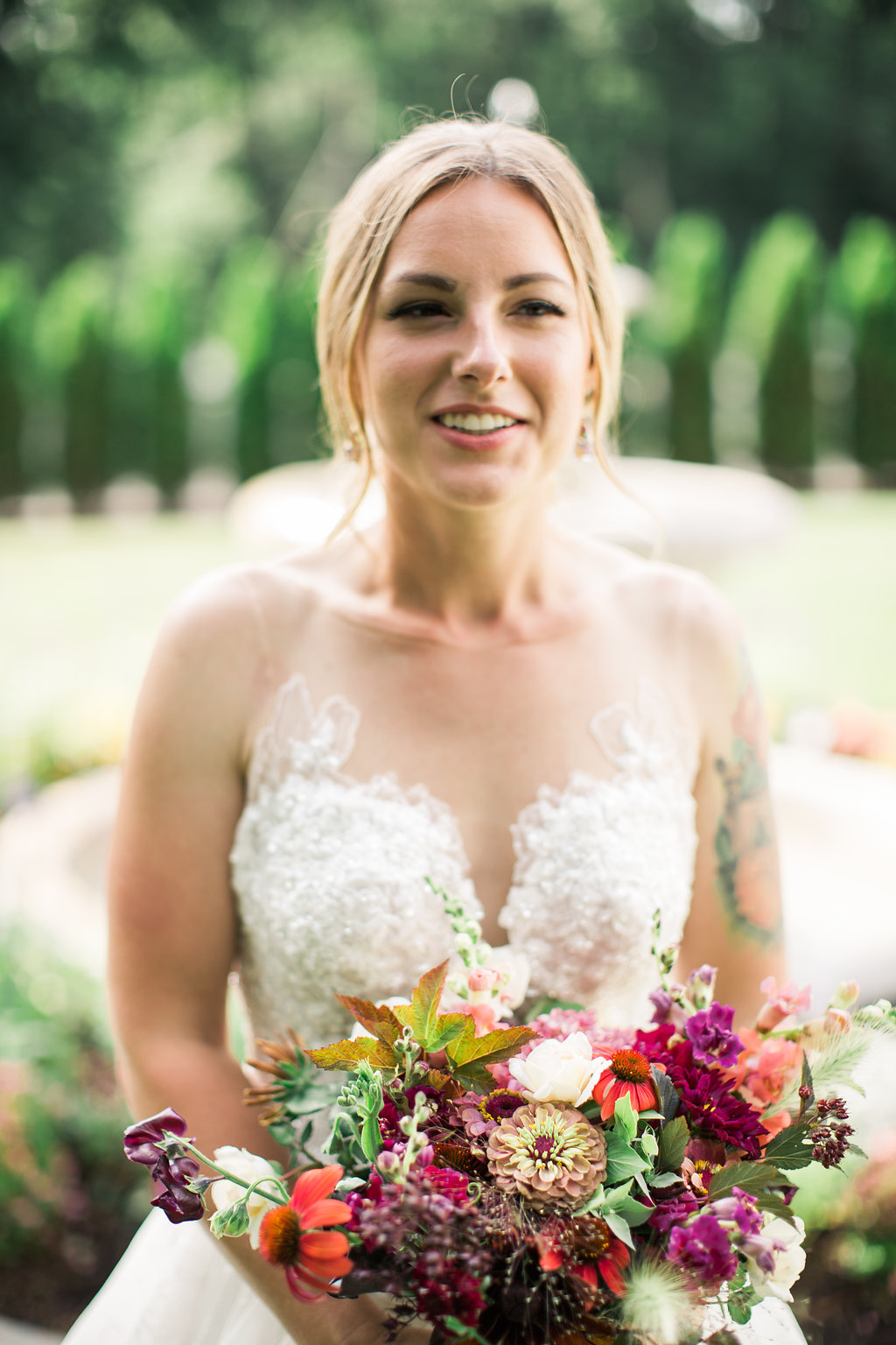 Gorgeous bride Angie is also the assistant flower farmer here at Eddy Farm. Photo by RC Zajac Photography.
