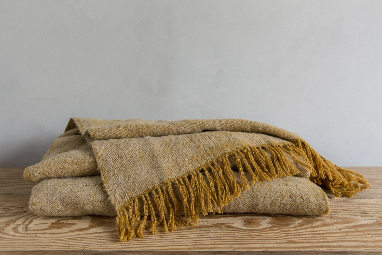 NEEM TARAK WOOL THROW - MUSTARD