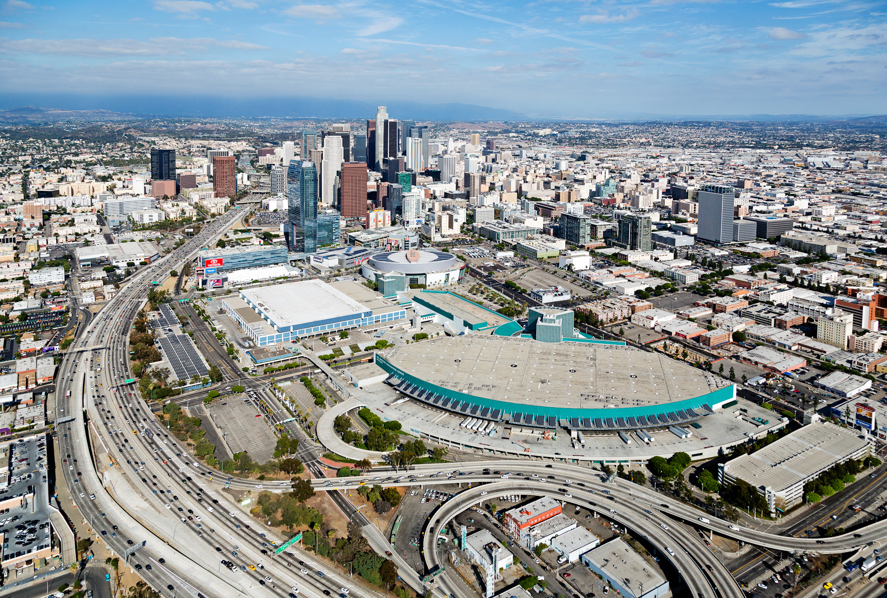 Aerial View of Los Angeles Convention Center and Downtown