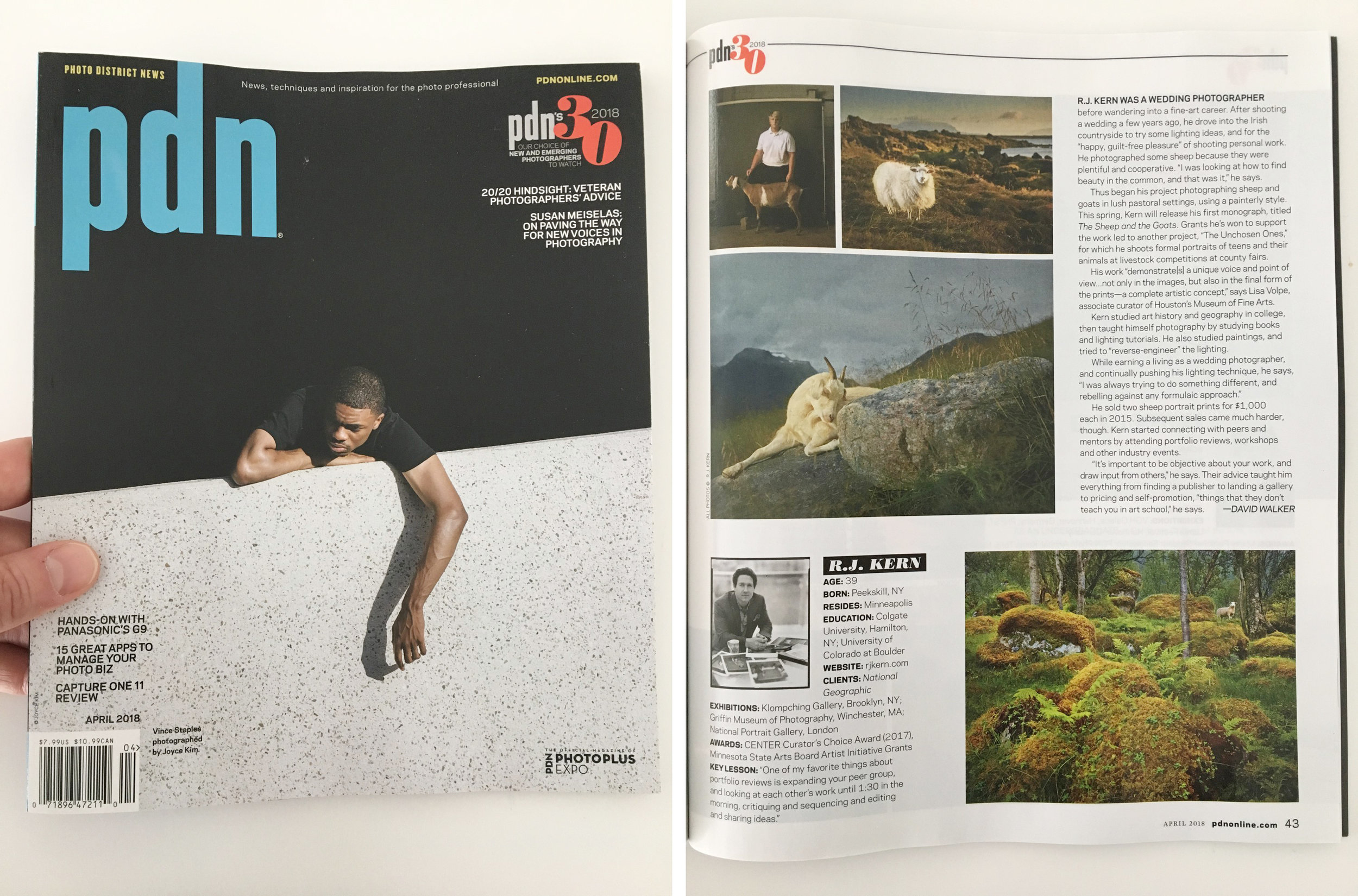 "The editors of Photo District News publishes their choice of 30 ""new and emerging photographs to watch"" and featured them in the April 2018 issue of PDN."