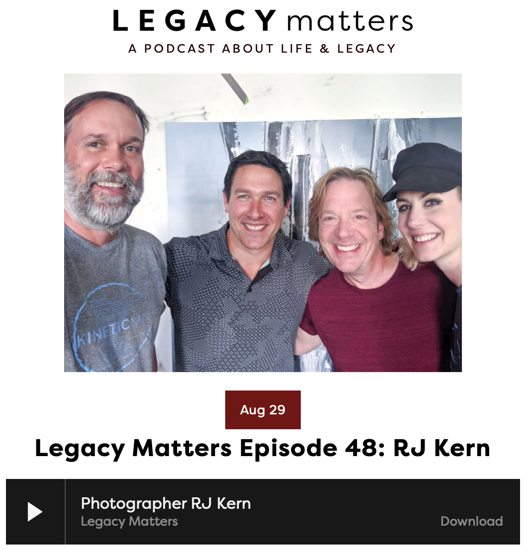 Listen to this Legacy Matters podcast interview, Episode 48: R. J. Kern, for a few good laughs and insight into my working process as a fine-art photographer in MInneapolis.