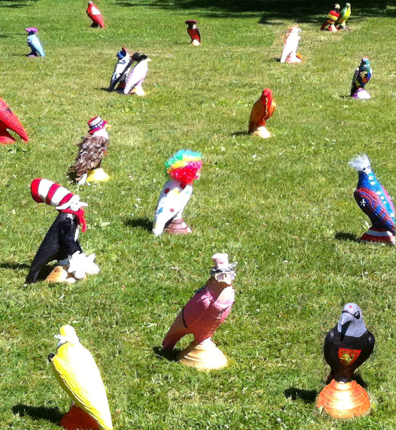 Dozens of creatively-decorated crows cover the lawn in front of Crow Island School.