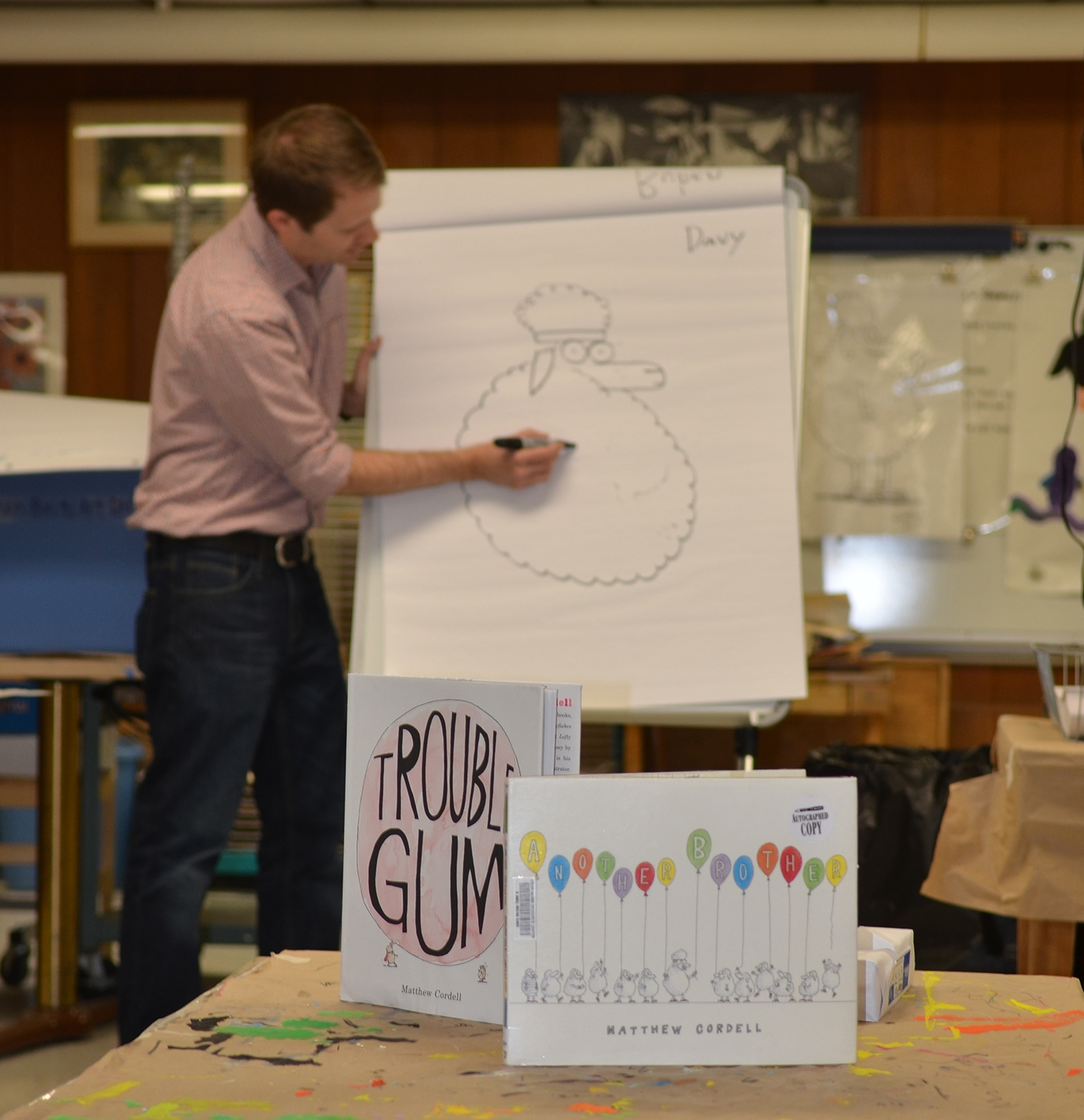 Author/illustrator Matt Cordell visits the Crow Island second grade classes.