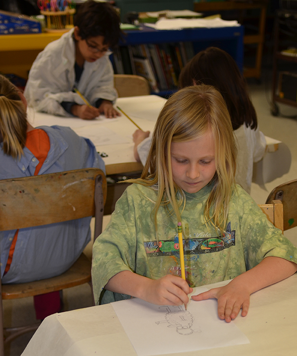 Second grade students creating their own Cordell drawings.