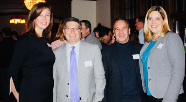 Skokie School Principal Kelly Tess (left), District 36 Chief Financial Officer Brad Goldstein, District 36 Director of Teaching and Innovation Barry Rodgers and Superintendent Trisha Kocanda at the Carlson Event.  LIBBY ELLIOTT/22ND CENTURY MEDIA