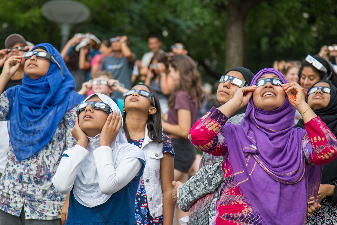 Solar Eclipse onlookers at the American Museum of Natural History. August 21, 2017