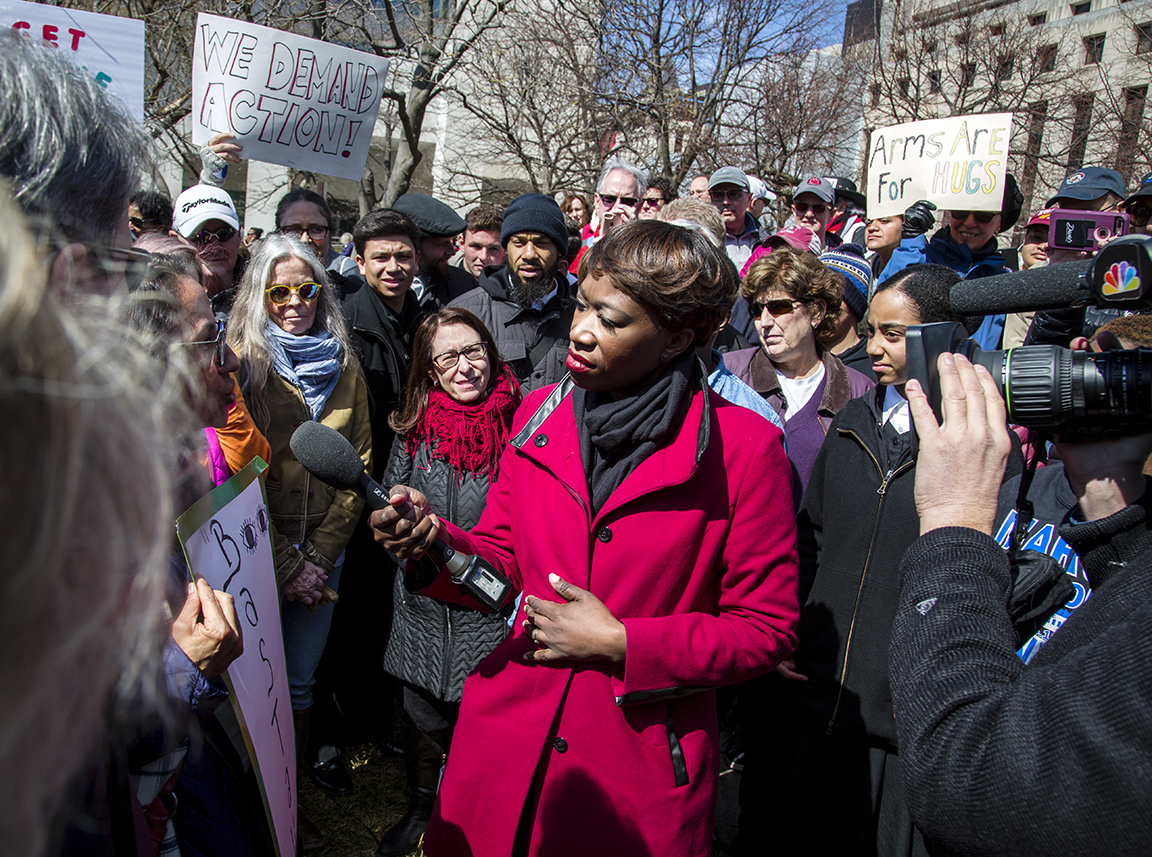 Host of AM Joy, and National Correspondent to MSNBC, Joy-Ann Reid, interviews attendees at the March For Our Lives. Washington D.C., 2017