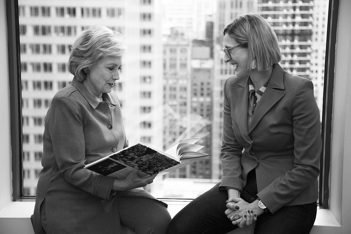 Hillary Rodham Clinton and photographer Kristen Blush view The Revolution Is Female, a photography book by Kristen Blush. Photo by Nick Merrill, 2018.