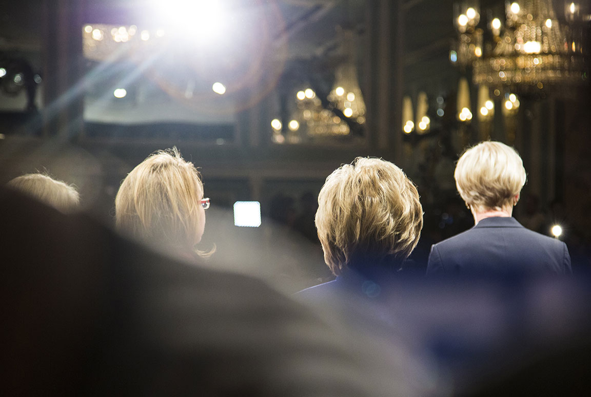 """Kirsten Gillibrand, Gabriel Giffords, Hillary Clinton, and Cecile Richards speak at the """"Get Out The Vote"""" rally in New York City Hilton. April 18, 2016. New York, NY"""