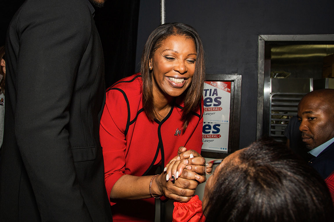 Attorney General Elect, Tish James on Election Day. Brooklyn, NY, 2018