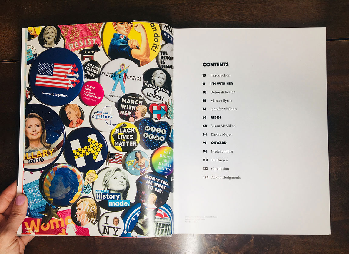The Table of Contents page features the buttons collection belong to Kristen Blush, many of which she designed using her originally photography.