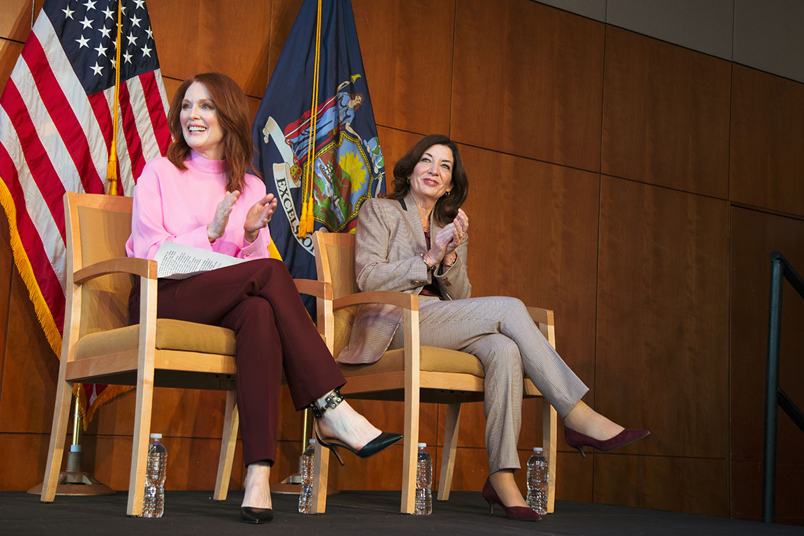 Julianne Moore and Lt. Governor Kathy Hochul at Lincoln Center. New York, NY, 2019