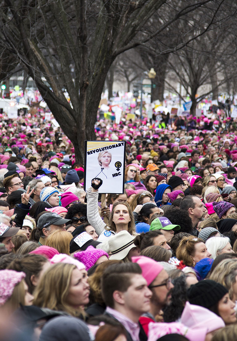 Ella Frederick honors Hillary Clinton at the Women's March. Washington, D.C., 2017