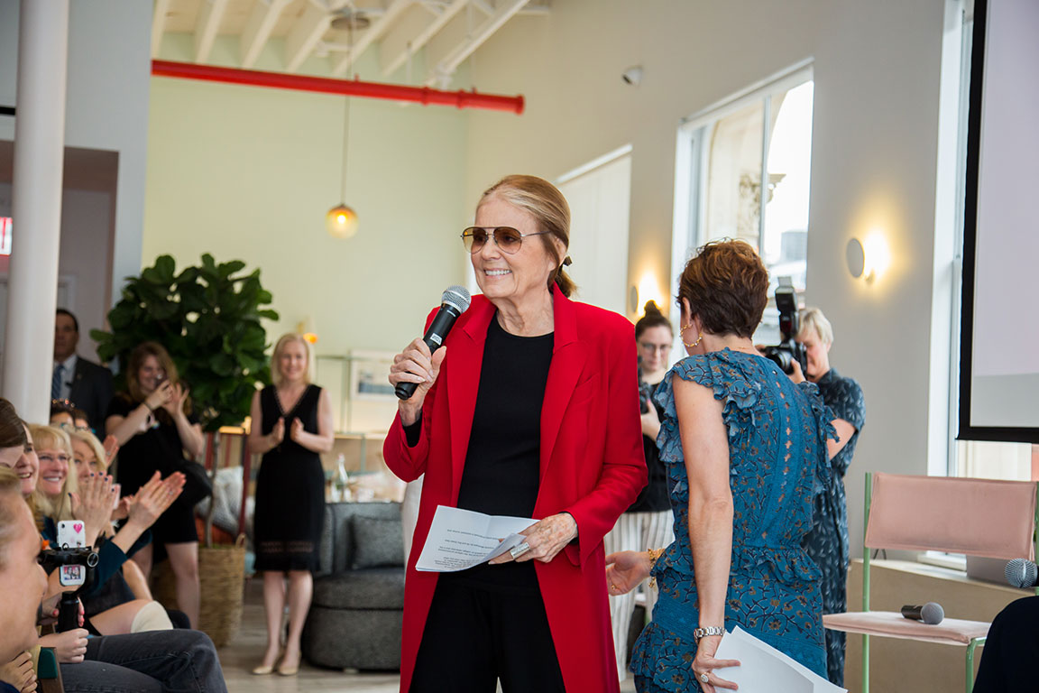 Gloria Steinem introduces Senator Kirsten Gillibrand at The Soho Wing. June 5, 2019.