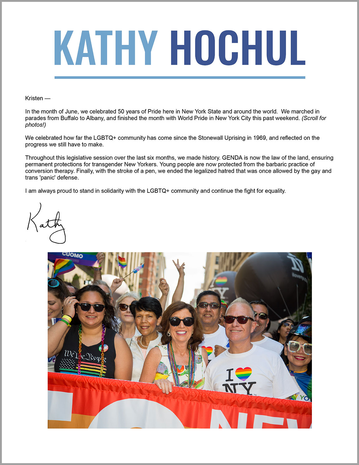 Photographs by Kristen Blush are featured in Kathy Hochul's Pride Newsletter paid for by Friends For Kathy Hochul.