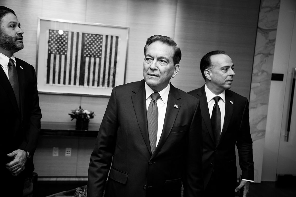 Photo of the Month: July 22, 2019: Black and white photograph of the newly elected President of the Republic of Panama, Laurentino Cortizo, in New York City. Photo by Kristen Blush.