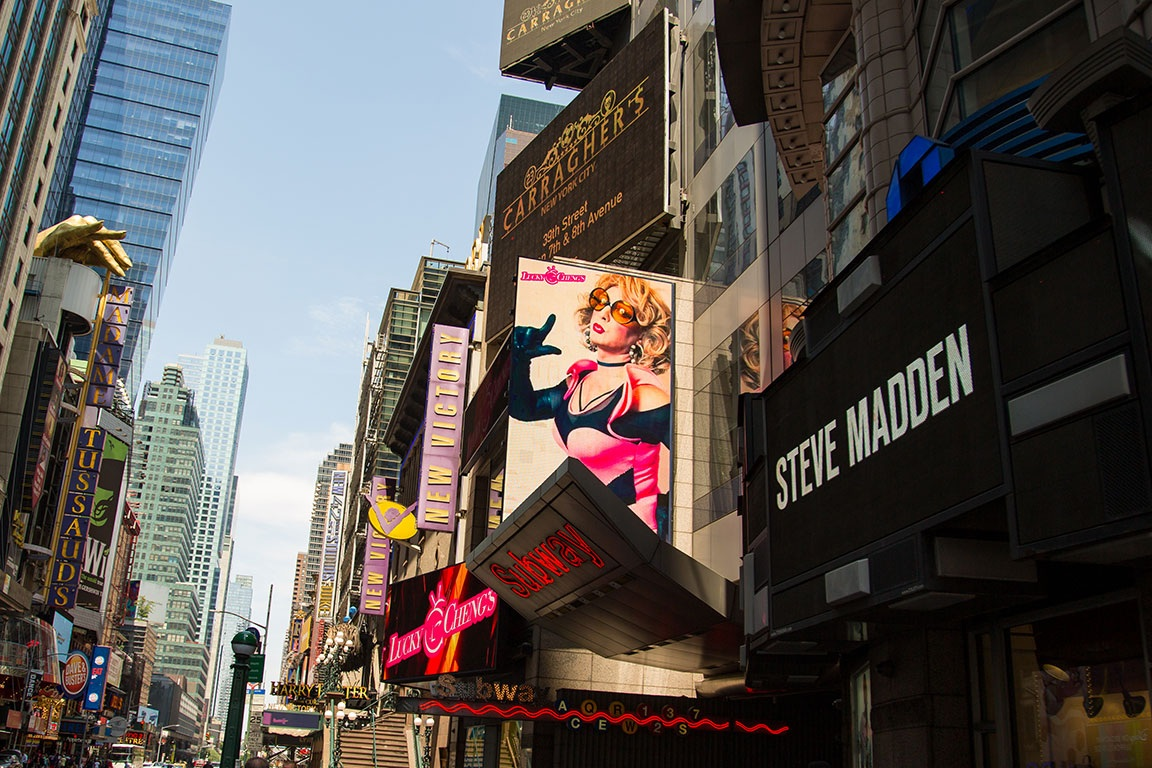 Original Photography by Kristen Blush appears on a billboard in Times Square during PRIDE Weekend for Lucky Cheng's Drag Cabaret, New York's longest running drag show.
