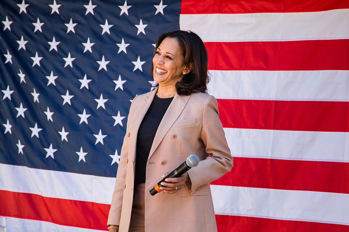 Democratic Presidential Candidate and U.S. Senator of California, Kamala Harris takes questions on the campaign trail.