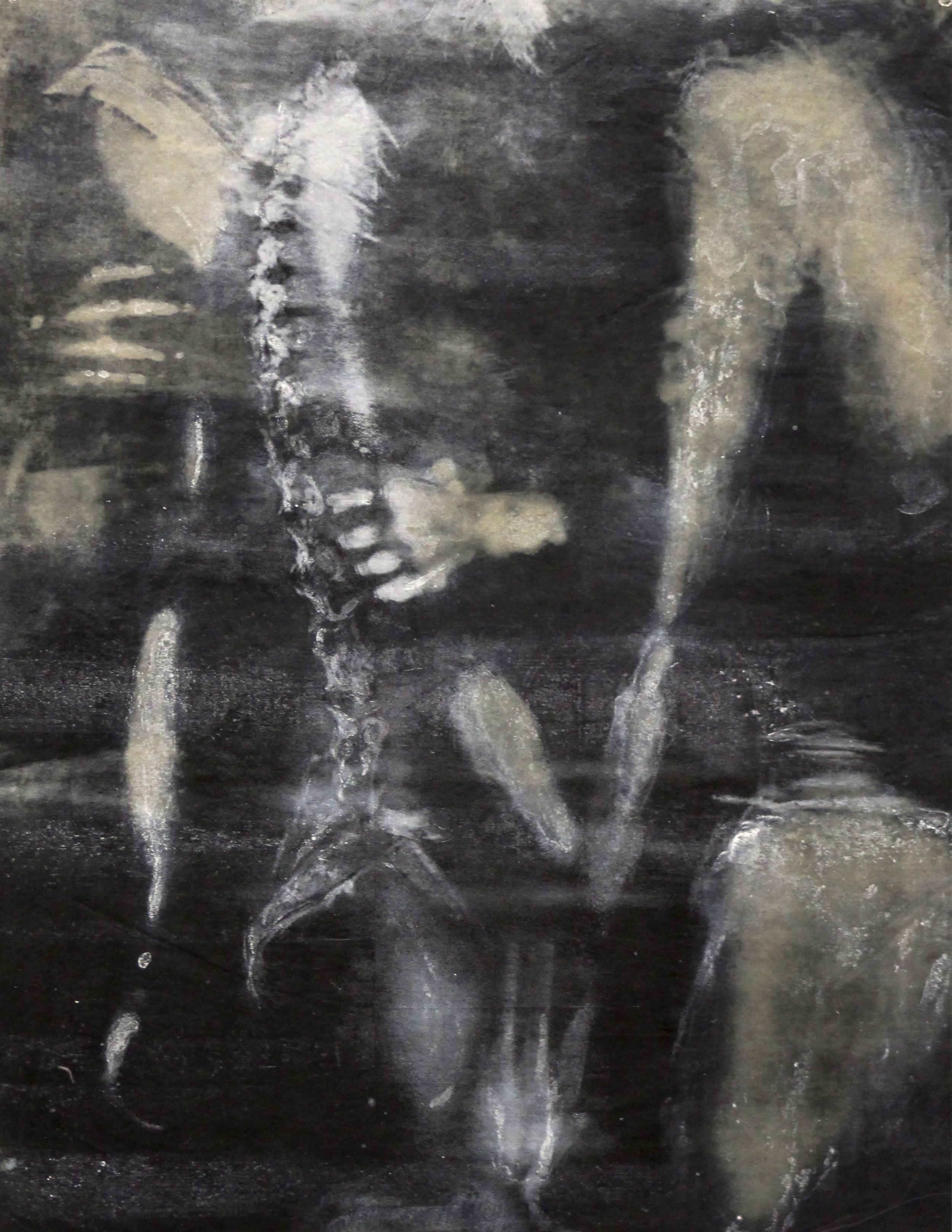 """Central Axis,"" Photo-intaglio, silkscreen, and monoprint, 26"" x 23,"" 2014"