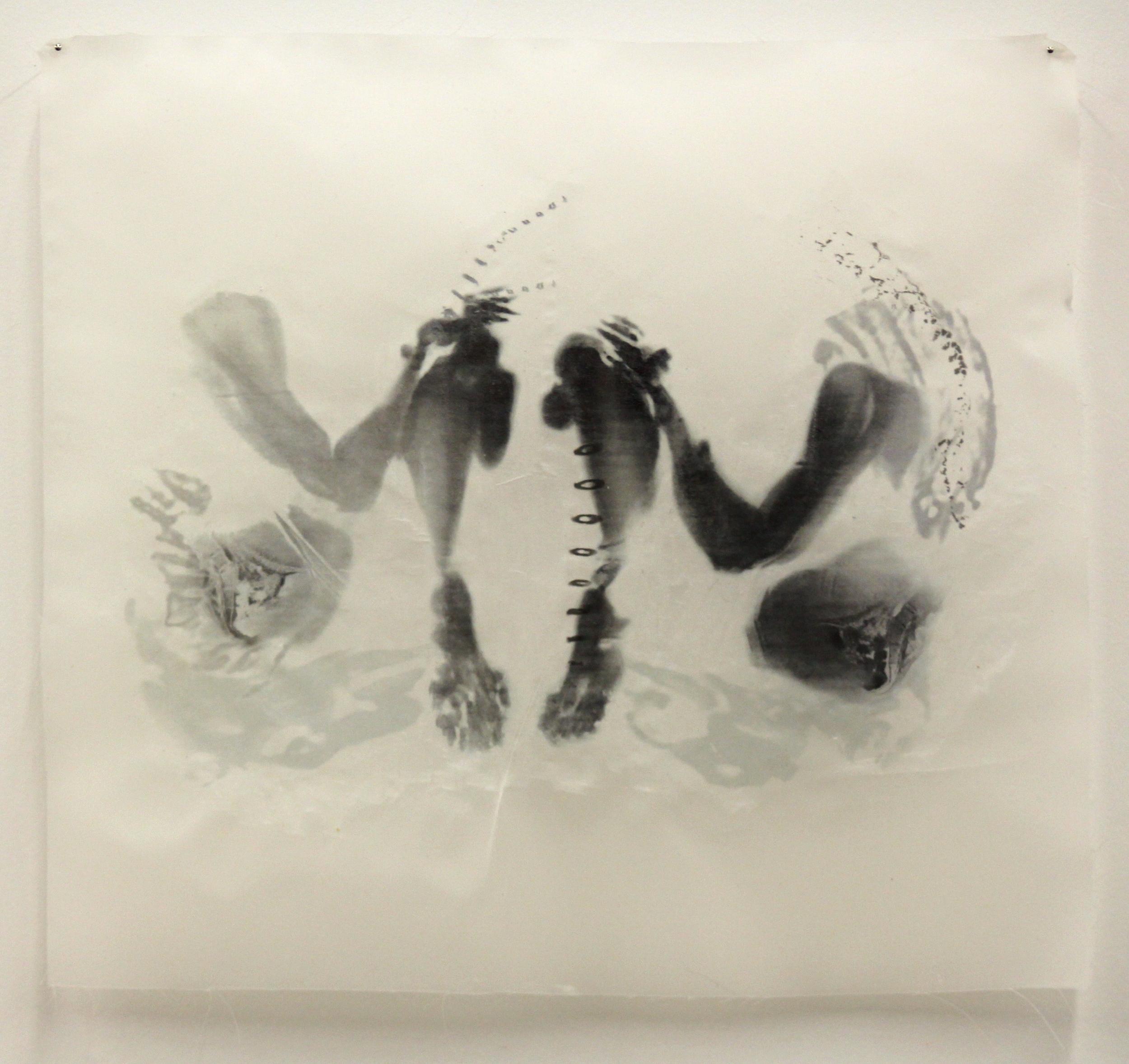 """Dualism VII,"" Toner transfer on waxed silk, 10"" x 11,"" 2015"